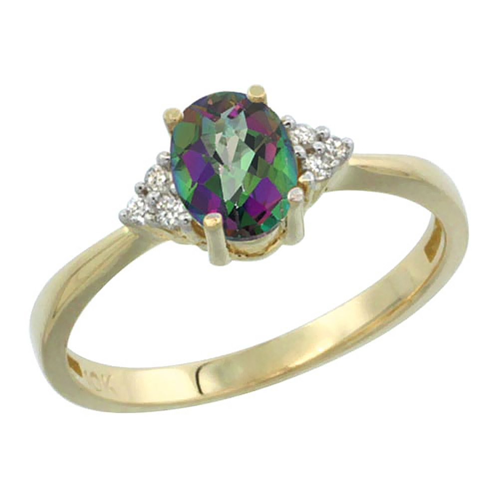 10K Yellow Gold Natural Mystic Topaz Ring Oval 7x5mm Diamond Accent, size 7