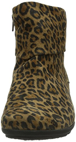 Mephisto Fiducia Velours Leopard Damen Kurzschaft Schlupfstiefel Braun (VELOURS LEOPARD)