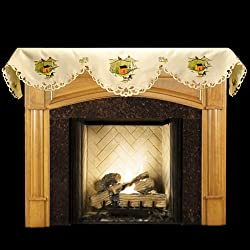 """Fall Fireplace Mantel Scarf with Horse and Amish Buggy with Silos 19"""" x 90"""" from Linens, Art and Things"""