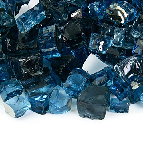Kenai Blue - Fire Glass Blend for Indoor and Outdoor Fire Pits or Fireplaces   10 Pounds   1/2 Inch, Reflective