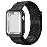 QIENGO Compatible with Apple Watch Band with Case 38MM 40MM 42MM 44MM, Soft Nylon Strap with Silicone Protective Case, Replacement for iWatch Sport Series 4/3 / 2/1