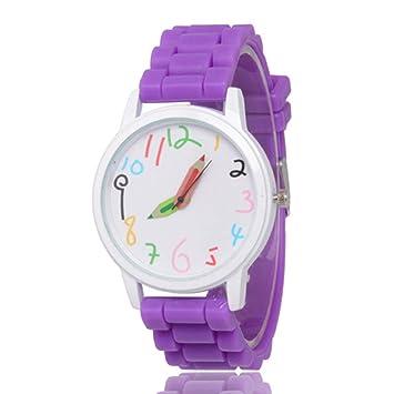 MENGZHEN - 1 Reloj de Pulsera Digital para niña y niño con manecillas Impermeables de Silicona, diseño de Dibujos Animados, 0.07, Color Morado: Amazon.es: ...