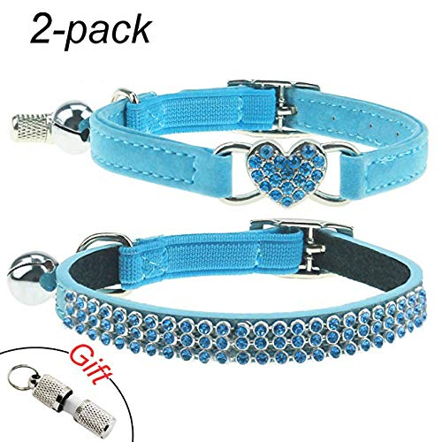 bluee 2Pcs Breakaway Bling Cat Collars with Bell & Pet Collar Tag, Small Dog Puppy Velvet Safety Collar Elastic Adjustale Neck 8 -11 ,bluee