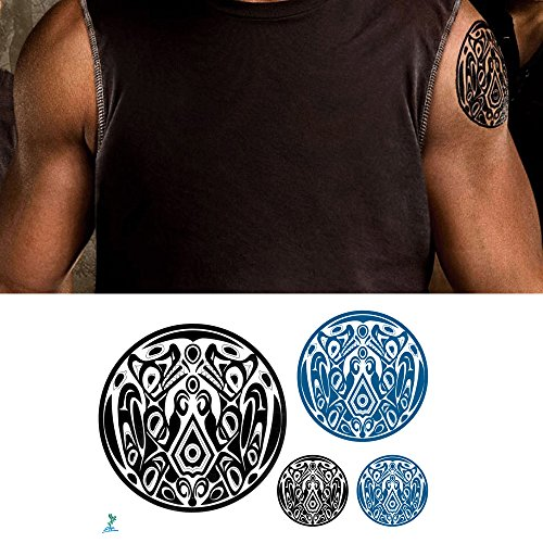 Designs Tattoos Religious (Yeeech Temporary Tattoos for Men Wolf Pack Jacob Gang Waterproof Arm Chest Neck Geometric American Tribal Large Small Long Lasting Fake Tattoo Black Green(2 Sheets))
