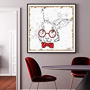 ZLMM Poster Impresión De La Lona Póster Impresion En Lienzo Cuadro, Ojo Animal,Decorativa Pared Sala Estar Habitacion Minimalista Acuarela Arte Planta Verde Moderna Regalo HD