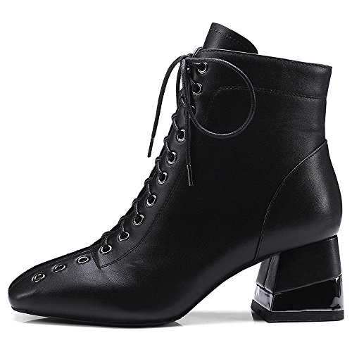 Square Toe Genuine Ankle Seven Side Boots Chunky Zip Handmade Black Leather Up Heel Women's Nine Lace Decorated p1XIWwnqX