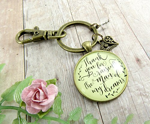 Mother In Law Keychain Thank You For Raising the Man Of My Dreams Mom Of The Groom Necklace Wedding Day Jewelry