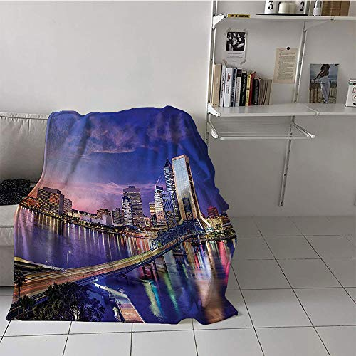 Khaki home Children's Blanket Soft Digital Printing Blanket (60 by 80 Inch,Apartment Decor Collection,Jacksonville Florida USA Architecture Business District Cityscape Evening Scene Image,Navy Gray ()