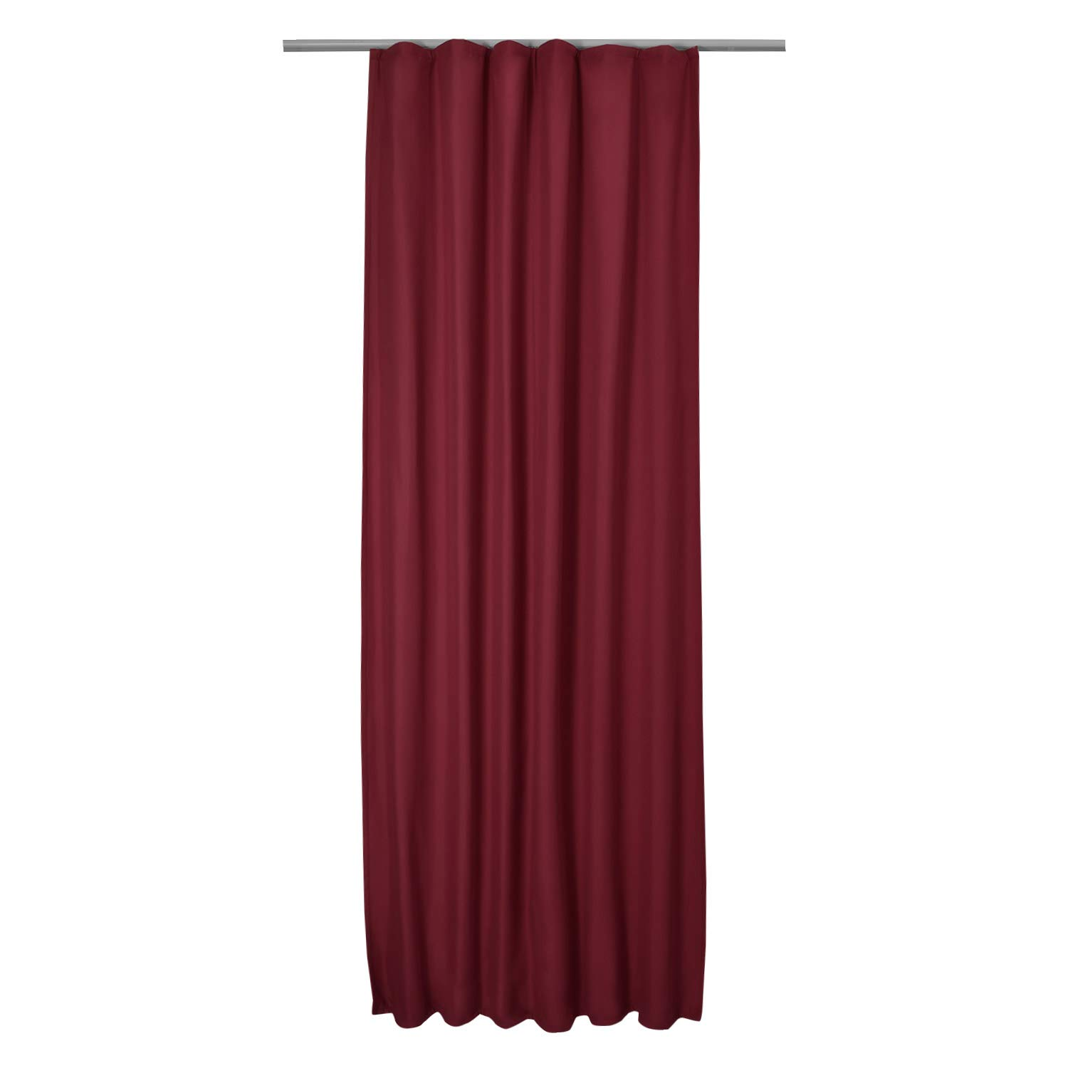 Beautissu Thermal-Curtain Amelie with Ribbon 140 cm 245 cm Drop Bordeaux (Red) Drape Isolating Curtain with Ribbon