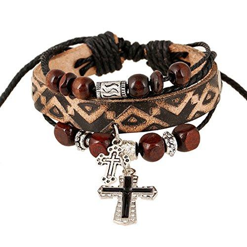 Cross Leather Wristband - 8