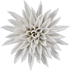 "CALANTA Handmade 3D Ceramic White Starfish Flower Sculpture Wall Hanging Decor for Bedroom Living Room 4.4"" F26"