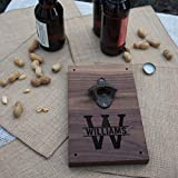 Cheap Personalized Engraved Walnut Wood Beer Bottle Opener Wall Mount – Monogram Initial and Name