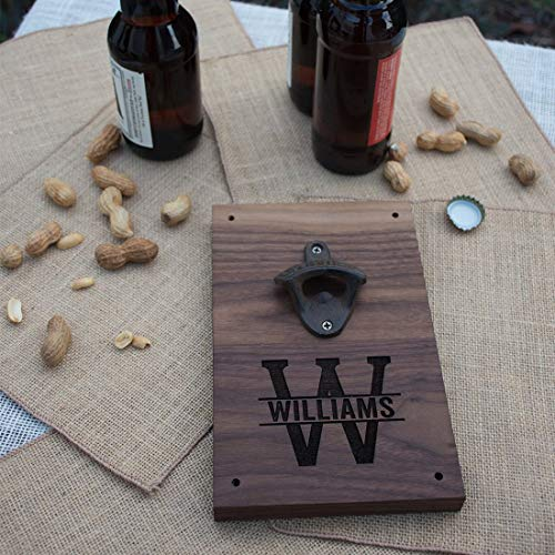 Personalized Engraved Walnut Wood Beer Bottle Opener Wall Mount - Monogram Initial and Name