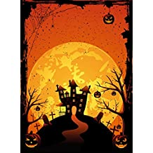 Yelewen 5x7ft Spooky Halloween Scary Pumpkins Graves Spider Cobweb Hauted House Silk Photography Backdrops Indoor Studio Customized Digital Printed Backgrounds Photo Props