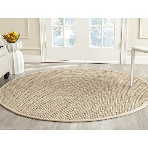 Safavieh Natural Fiber Collection NF115A Herringbone Natural and Beige Seagrass Round Area Rug (6' Diameter) (6' Round China)
