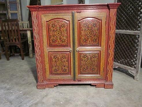 Schrank bemalt Indische Möbel shabby: Amazon.de: Küche & Haushalt