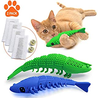 Ronton Cat Toothbrush Catnip Toy - Durable Hard Rubber - Cat Dental Care, Cat Interactive Toothbrush Chew Toy (2-Pack Green/Blue)