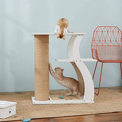 SEEU Multi Levels Cat Tree Cat Scratcher Activity Centres Scratching Post with Scratcher Pad, Cat Furniture for Kittens, 80cm, White by SEEU (Image #1)
