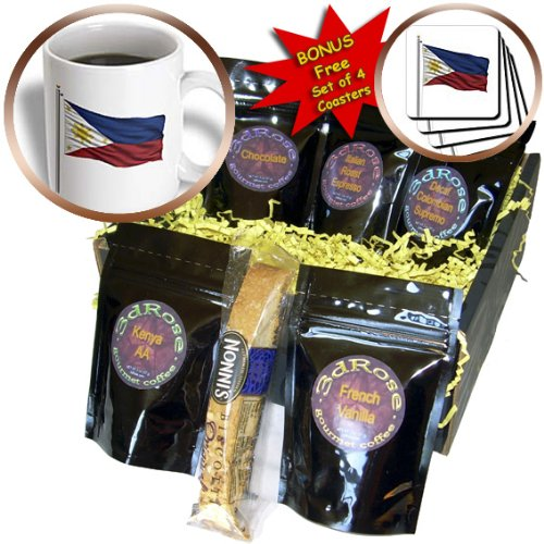 Carsten Reisinger Illustrations - Flag of Philippines on a flag pole over white Filipino - Coffee Gift Baskets - Coffee Gift Basket (cgb_157245_1)