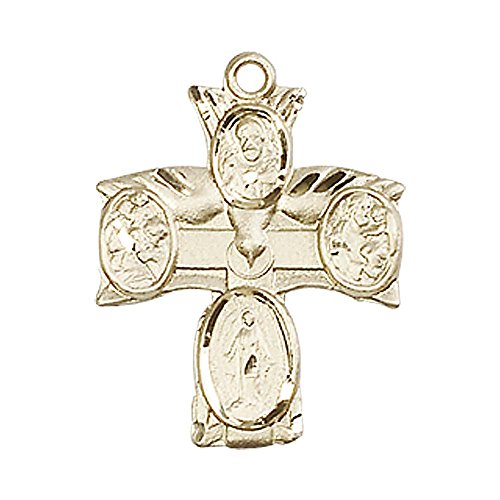 14kt Gold 4-Way Medal. Includes deluxe flip-top gift box. Medal/Pendant measures 3/4