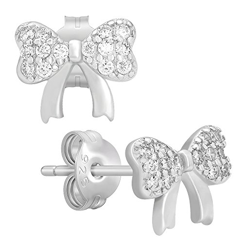 (Nickel Free) 925 Sterling Silver Bow with Crystal CZ Stud Earrings 17763 ()