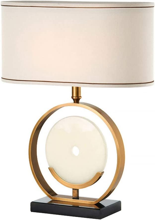 Carl Artbay Chinese Modern Round Copper Bedside Table Lamp, Fabric Lampshade, Creative Marble Bedroom Lamp for Living Room Study Office Home Decoration, E27, Push Button Switch