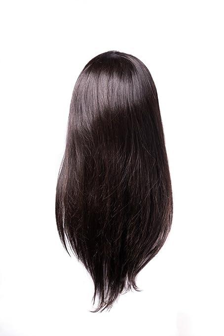Shri - Peluca de pelo humano Remy con red delantera y solapas laterales ajustables - 150