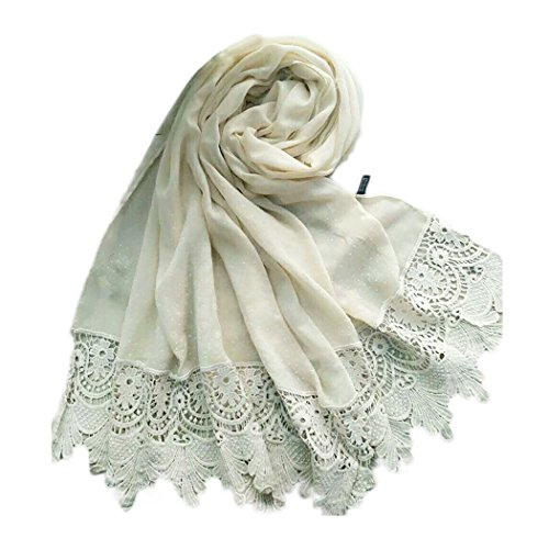Raylans Women Lady Fashion Cotton Lace Long Scarf Wrap Shawl (Beige) -
