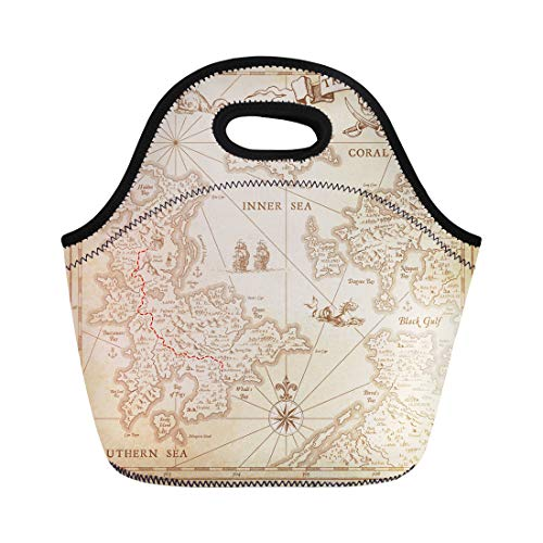 Semtomn Lunch Tote Bag Yellow Old High Detail Treasure Map Lots of Incredible Reusable Neoprene Insulated Thermal Outdoor Picnic Lunchbox for Men Women
