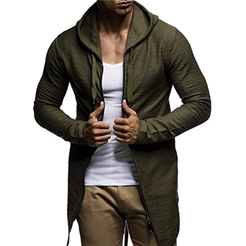 Katesid Men's Open Cardigan Zipper Hoodie Sweatshirt Jacket Outwear (US L/Tag 2XL, Army Green)