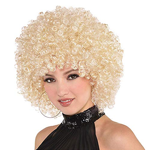 ForQueens Afro Curly Wig Short Kinky Curly Hair Synthetic Blonde Wigs for Women Fluffy Hair Heat Resistant Fiber (150g,613#)]()
