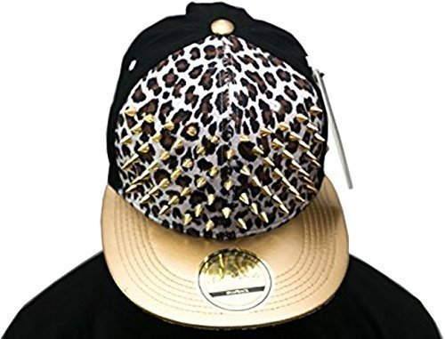 Studded sombreros de pico nbsp;Gorra béisbol Premium nbsp;– plana SP Bling Leopard Gold Collection color blanco adq667