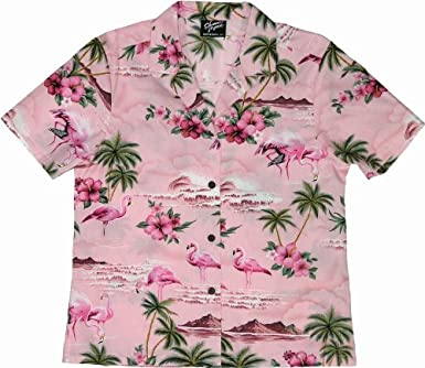 f6d81cdf Flamingo Hibiscus Womens Hawaiian Shirts - Hawaiian Shirts - Aloha Shirt - Hawaiian  Clothing - 100