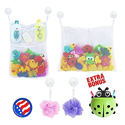 2 x Mesh Bath Toy Organizer + 6 Ultra Strong Hooks + Cute Ladybug Kids Toothbrush Holder – Perfect Toy Storage Net for Baby Bath Toys - This Mesh Bath Toy Organizer Makes Toy Storage Easy by Comfylife that we recomend personally.