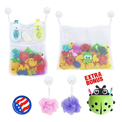 2 x Mesh Bath Toy Organizer + 6 Ultra Strong Hooks + Cute (Green) Ladybug Kids Toothbrush Holder - Perfect Toy Storage Net for Baby Bath Toys - This Mesh Bath Toy Organizer Makes Toy Storage Easy