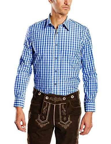 Fuchs Trachtenmoden Herren Trachten Hemd, Gr. Kragenweite: 41 cm (Herstellergröße: L), Mehrfarbig (Blue/White check)