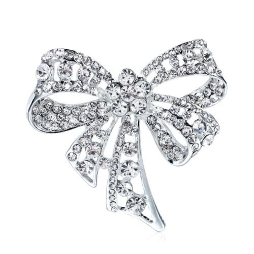 Pave Bow Pin (CaandShop(TM) Chic Vintage Silver Tone Micro Pave CZ Bowknot Bow Brooch Pin Party Jewelry Gift)