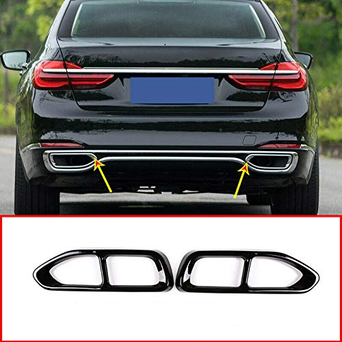 LLKUANG Black Double Exit Exhaust Muffler Pipe Tip For BMW 7 Series 730i 740i 750i 760i G11 G12 2016-2018 (NOT FIT M Sport Version)