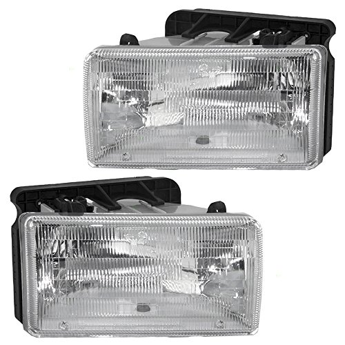 Halogen Headlights Headlamps Pair Set Replacement for 91-96 Dodge Dakota Pickup Truck 55054715 55054714