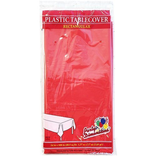 Plastic Party Tablecloths - Disposable, Rectangular Tablecovers - 4 Pack - Red - By Party Dimensions