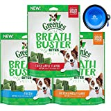 Greenies Dental Treats - Breath Buster Bites Variety 3 Pack Bundle- Natural Dog Treats for Bad Breath (Chicken, Apple & Mint Fresh Flavors) (16.5 Total Ounce Bags) W/YowPets Collapsible Travel Bowl