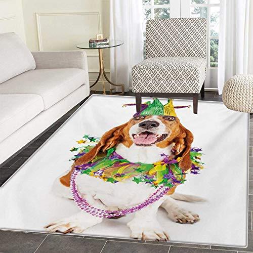 Mardi Gras Bath Mats Carpet Happy Smiling Basset Hound Dog Wearing a Jester Hat Neck Garland Bead Necklace Floor Mat Pattern 40