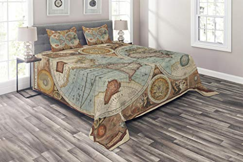 (Lunarable Vintage Coverlet Set Queen Size, Old Detailed World Map Geography Theme Historic Grunge Illustration, 3 Piece Decorative Quilted Bedspread Set with 2 Pillow Shams, Redwood Pale Blue Orange)