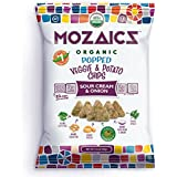Mozaics Organic Popped Veggie & Potato Chips- Healthy snack, under 100 calories, better than veggie straws or stix - gluten free - 3.5oz big bags (Sour Cream & Onion, 8-count)