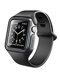Apple Watch Band 42 mm, Clayco [Hera Series] Ultra Slim Protective Shock Resistant Bumper Case with Strap Bands for 42mm Apple Watch Series 3 2017 / Series 2 /Series 1 (Black)
