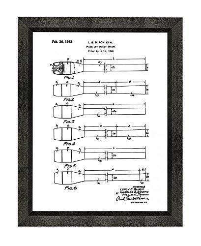 (Pulse Jet Thrust Engine Patent Art White Matte Print in a Beveled Black Wood Frame (18