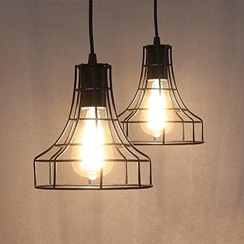 Leonlite 3 Pack Industrial Pendant Lighting For Kitchen: 2-Pack E26 Vintage Metal Cage Pendant Lamps Lighting