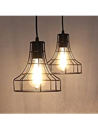 2 Pack E26 Vintage Metal Cage Pendant Lamps Lighting Chandelier Light Industrial Loft Retro Metal