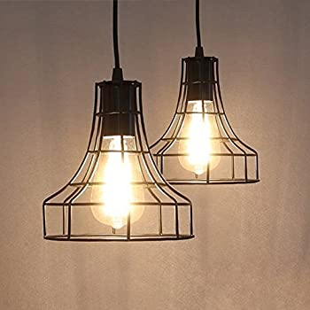 Coolwest mini vintage edison hanging caged pendant light fixture 2 pack e26 vintage metal cage pendant lamps lighting chandelier light industrial loft retro metal wire cage black chandelier hanging e26e27 pendant light aloadofball Images