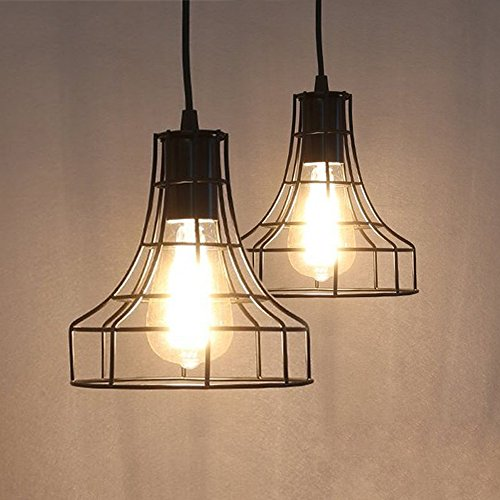 2-Pack E26 Vintage Metal Cage Pendant Lamps Lighting Chandelier Light Industrial Loft Retro Metal Wire Cage Black Chandelier Hanging E26/E27 Pendant Light Fixture (Basket Lamp Shade)